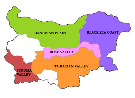 Wine regions in Bulgaria